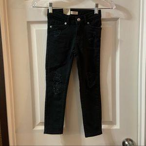 Levi's Black Distressed 701 Super Skinny Jeans